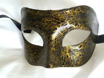 Genuine Venetian Black & Gold Crackle Mask (1)